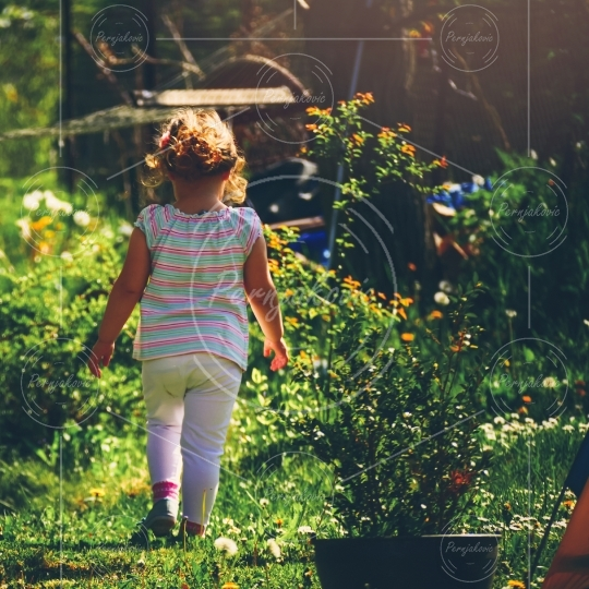 Little girl walking through a flower garden